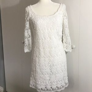 WHBM white lacy crocheted dress size 4